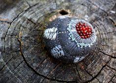 stitched stone by Lisa Jordan of lil fish studios