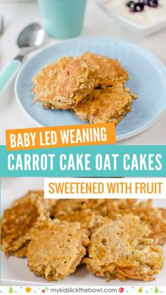 Carrot Cake Oat Cakes Healthy pancakes for kids and baby led weaning Sugar free snack. Perfect finger food sweetened only with fruit and vegetables #sugarfree #babyledweaning #healthykids