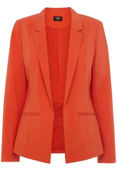This structured blazer style jacket is full lined and has 3/4 length sleeves.