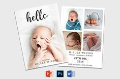 Birth Announcement Template | Newborn Announcement template | Birth announcement card | Birth announcement printable | Baby Announcement Birth Announcement Template, Birth Announcement Girl, Announcement Cards, Recipe Book Templates, Cookbook Template, Youth Group Activities, Youth Groups, Family Reunion Games, Family Reunions
