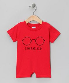 Red 'Imagine' Romper - Infant #zulily #zulilyfinds