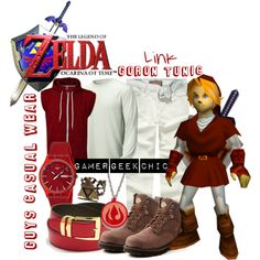 """""""The Legend of Zelda: Ocarina of Time - Link (Goron Tunic)"""" by gamer-geek-chic on Polyvore"""