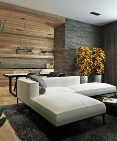 Einrichten in Naturtönen wohnideen-wohnzimmer-holz-steinwand-weisses-sofa
