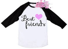 Best Friends Shirt Best Friend Shirt in by fairytalesfireflies Best Friend Shirts, Best Friends, Glitter Hearts, Raglan Shirts, Pink Blue, Lily, Crop Tops, Awesome, Black