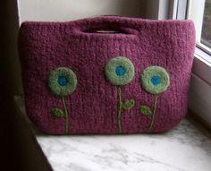 Felted Purse Plum Purple Poppy Clutch by shanineal on Etsy