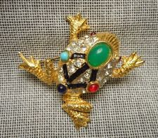 Vintage Jeweled Cabochon & Rhinestone Pave Enameled Golden Frog Toad BROOCH