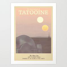 Retro Travel Poster Series - Star Wars - Tatooine Art Print by Teacuppiranha   Society6