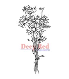 "Deep Red | ""Daisy Bouquet"" Cling Stamp 