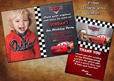 Disney Cars Invitation - Cars Birthday Invitation - Disney Cars Birthday Party Printable Invites - Pixar Racing Lightening McQueen by PrintablesToYou on Etsy https://www.etsy.com/listing/213308553/disney-cars-invitation-cars-birthday
