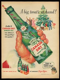 1952 Canada Dry ginger ale big bottle and Christmas tree art vintage print ad | eBay