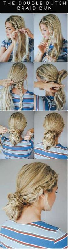 When you already bored with a simple updo then these easy braided hairstyles for a party is what you need. They are easy and quick to make! Going Out Hairstyles, Messy Bun Hairstyles, Work Hairstyles, Summer Hairstyles, Trendy Hairstyles, Party Hairstyles, Wedding Hairstyles, Easy Hairstyle, Camping Hairstyles
