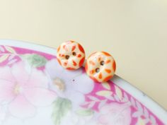 Vintage Button Earrings Orange Dashes on Ivory by KreatedbyKelly