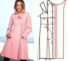 Illustration showing how to create the pattern for this coat.Fashion & Sewing TipsCutting and Sewing Coat Patterns, Clothing Patterns, Dress Patterns, Sewing Patterns, Fashion Sewing, Diy Fashion, Ideias Fashion, Sewing Coat, Sewing Clothes