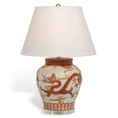Mandarin Spice Dragon Porcelain Lamp with Shade