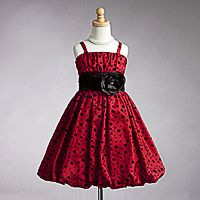 Flower Girl Dress Style 908-  Spaghetti Strap Taffeta Dotted Bubble Dress