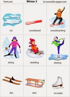 Kids Pages - Winter 2 Learning English For Kids, Kids English, English Language Learning, English Words, English Lessons, Teaching English, Learn English, Flashcards Anglais, Winter Activities