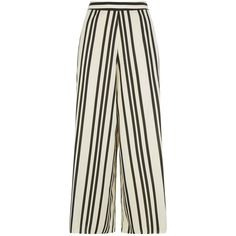 Alice + Olivia Sherice Darted Stripe Trousers (€355) ❤ liked on Polyvore featuring pants, alice olivia pants, wide leg trousers, draped pants, wide leg pants and lightweight cotton pants