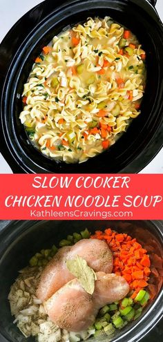 Made right in your crockpot – this Slow Cooker Chicken Noodle Soup is perfect as the weather chills down or when your household is fighting a cold. Simple and easy way to make comforting, healthy, homemade Chicken Noodle Soup. Recipe at KathleensCravings… Crockpot Dishes, Crock Pot Soup, Crock Pot Cooking, Cooking Recipes, Healthy Recipes, Slow Cooker Easy Recipes, Crockpot Chicken Soup Recipes, Slow Cooker Meals Healthy, While Chicken In Crockpot
