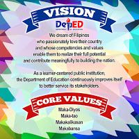 DEPED TAMBAYAN PH: High Resolution DepEd Mission - Vision - Core Values Layout and Designs for Tarpaulin, Tarpapel and Bulletin Classroom Bulletin Boards, Classroom Rules, Classroom Design, Healthy Habits For Kids, Ribbon Png, Mission Vision, Bulletin Board Display, Borders For Paper, House Rules