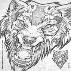 Wolf illustration. Client WIP #wolf #beast #beastmode #fangs #tattoo #pencils #predator #art #illustration #symmetry #absorb81 #caliberblack