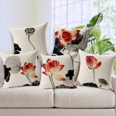 """Square 18"""" Chinese Painting Lotus Printed Cushion Covers Pillows Decor Home Linen Cotton Bedroom Sofa Customized Drop Shipping #Affiliate"""