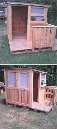 Are you planning out to live independently? If yes, then get ready to arrange a perfect and comfortable wood pallet shed or cabinet for you. How about this idea? It looks so awesome and cool. This cabinet idea is featuring one room space in a hut shaped d Diy Storage Shed Plans, Small Shed Plans, Wood Shed Plans, Storage Sheds, Garage Plans, Small Storage, Garage Ideas, Shed Construction, Palette Diy