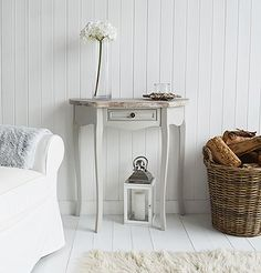 Bridgeport small French grey console table with drawer. A range of french style furniture and home decor for living room, bathroom , bedroom and hallway, all available to buy online in UK with fast delivery. Ideas on how to decorate your home French Style