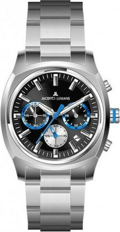 Jacques Lemans 1-1556H Men's Watch Chronograph Silver Stainless Steel Black Dial
