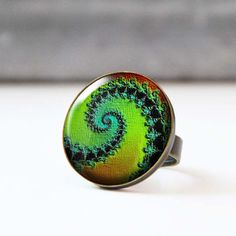 Green Picture Ring Colorful Statement Ring Bohemian Spiral Ring Glass Dome Psychedelic Photo Jewelry Wearable Art Fractal Art 5002-2 by StudioDbronze