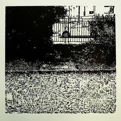 Jesenského 603-36 [printmaking, cutting into MDF] #printmaking #woodcut #bunker #art