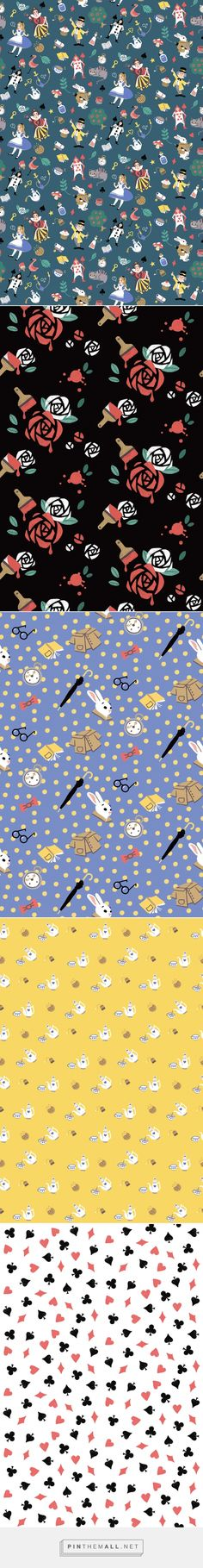 Alice in Wonderland (Pattern) on Behance... - a grouped images picture - Pin Them All
