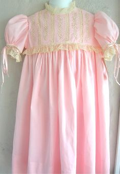 Girls Heirloom Dress Pink Swiss Batiste and Ecru French Lace $150