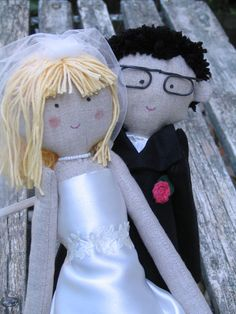Custom wedding cake topper rag dolls bride and groom by apacukababa https://www.facebook.com/ApaCukababa