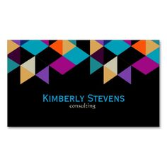 Colorful Modern Geometric Abstract Triangles 4c Business Card Template by artOnWear