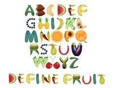 Fruit Alphabet Typography by foredasia on DeviantArt Alphabet A, Alphabet Design, Alphabet Writing, Hand Lettering Alphabet, Cool Typography, Typography Design, Food Font, Creative Teaching, Preschool Art