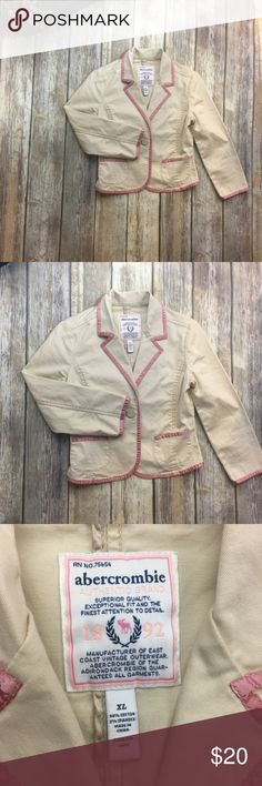 Abercrombie Khaki With Pink Trim Girls Blazer Khaki with pink trim girls blazer. Size xl. In excellent used condition. 17 inches long. 18 inch sleeves. 16 inches arm pit to arm pit. 2 pockets in the front. abercrombie kids Jackets & Coats Blazers