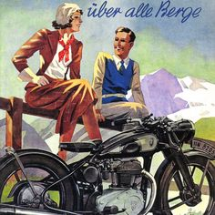 Detail Of Zuendapp Motorcycles Ueber Alle Berge 1938 - Out of 10.000 the www.MadMenArt.com Vintage Ad Art Collection features founder's absolute favorite designs. #Vintage #Ads #VintageAds #Design #Posters #MagazineCovers #Illustrations #Favorites #MyFavorites