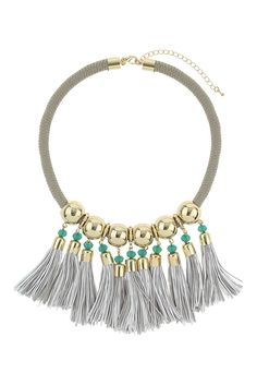 Fall 2014 Shopping: Statement Pieces - theFashionSpot - Topshop Grey Cord Tassel Necklace