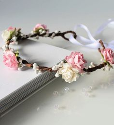 Pink Floral Crown, Pale Pink and White Rose Flower Crown, Flower girl flower…