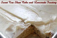 Sweet Tea Sheet Cake with Lemonade Frosting http://www.momspantrykitchen.com/sweet-tea-sheet-cake-with-lemonade-frosting.html