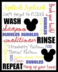 Something I whipped up for our kiddos' bathroom! (Yes, they have a MICKEY theme… – kids bathroom ideas Bathroom Kids, Kids Bath, Kid Bathrooms, Shared Bathroom, Mickey Mouse Bathroom, Cool Shower Curtains, Disney Home, Disney Crafts, Inspiration For Kids