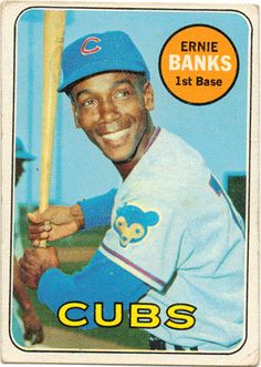 1969 Topps Baseball Card, Ernie Banks, Chicago Cubs, Shortstop, card 20 by lotsofpostcards on Etsy https://www.etsy.com/listing/205076696/1969-topps-baseball-card-ernie-banks