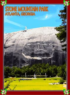 Atlanta Georgia Stone Mountain Park United States of America Advertisement Travel Poster. This is a fine reproduction art poster print picture Travel Poster advertisement .