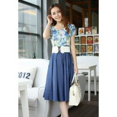 $12.50 Fashion Style Floral Print Splice Design Summer Dress With Belt For Women
