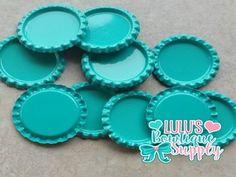 Tropic Blue Double Sided Flattened Bottle Caps