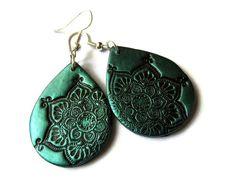 Lotus mandala earrings teal  black polymer clay by MoonsafariBeads, $17.00