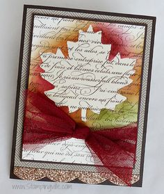 Isn't the En Français background stamp just gorgeous? I love the beautiful French script. The larger background stamps are grea. Fall Cards, Holiday Cards, Christmas Cards, Scrapbook Cards, Scrapbooking, Stamping Up Cards, Rubber Stamping, Stampin Up, Leaf Cards