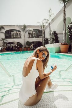Fun in the sun with my new favorite perfect and white scalloped one-piece Bathing Suits, Trendy Swimwear, Cute Swimsuits, White Swimsuit, Scalloped One Piece Swimsuit, Summer Beach, Summer Vibes, Spring Summer, Tumblr Outfits