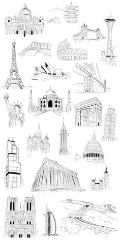 Buildings of the World Coloring Wallpaper Canvas On Demand Buildings of the World Coloring Wallpaper Canvas On Demand lii ana Pictures Color your walls literally with coloring nbsp hellip Painting wallpaper Famous Monuments, Famous Buildings, Famous Landmarks, Scrapbooking Paris, City Drawing, Painting Wallpaper, Urban Sketching, Colorful Wallpaper, Art Drawings Sketches