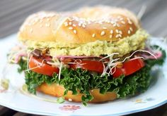 "Looking for a yummy vegan breakfast or lunch idea? Try this delicious ""eggless"" egg salad bagel – its tasty, simple to make and egg friendly! Whole Foods, Whole Food Recipes, Vegan Recipes, Bagel Sandwich, Vegan Vegetarian, Vegan Egg, Egg Salad, Nutrition, Snacks"